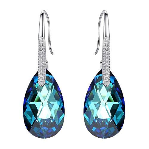EleQueen 925 Sterling Silver CZ Teardrop Shepherd Hook Dangle Earrings Made with Swarovski Crystals