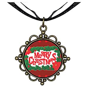 Chicforest Bronze Retro Style Merry Christmas And Holly Round Flower Pendant