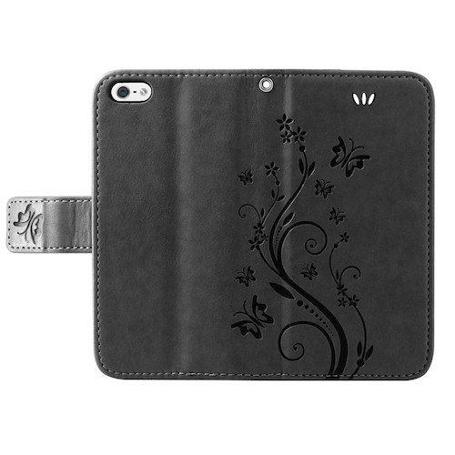 betterfon | Flower Cover Handytasche Schutz Hülle Blume Case Buch Klapptasche Handyhülle Handy Schale für Apple iPhone 6 / 6s Schwarz