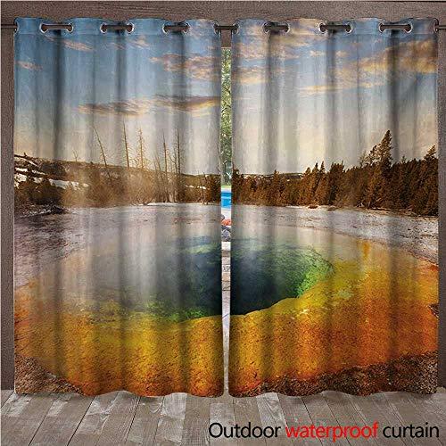 WilliamsDecor Yellowstone Outdoor Balcony Privacy Curtain Morning Glory Pool in Yellowstone National Park Winter Scene Landmark Theme W84 x L96(214cm x 245cm)