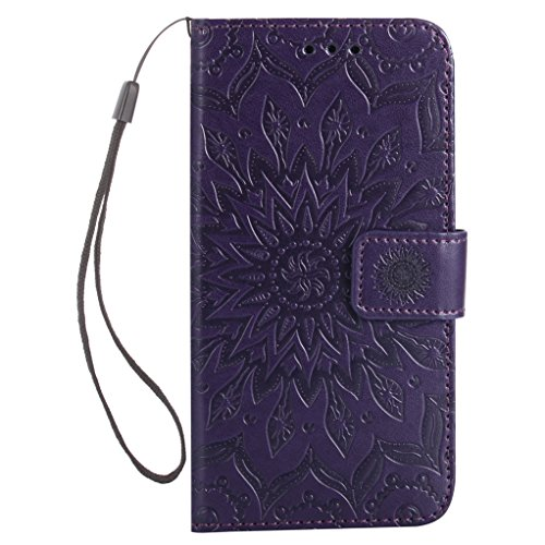 Trumpshop Smartphone Carcasa Funda Protección para Samsung Galaxy S7 edge [Gris] 3D Mandala PU Cuero Caja Protector Billetera Choque Absorción Púrpura