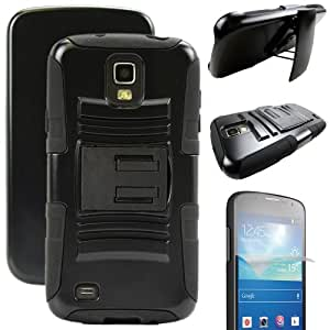 MINITURTLE, High Impact Rugged Hybrid Dual Layer Protective Phone Armor Case Cover with Built in Kickstand, Swiveling Holster Belt Clip, and Clear Screen Protector Film for Android Smartphone Samsung Galaxy S4 Active I9295, SGH-I537 (Black)