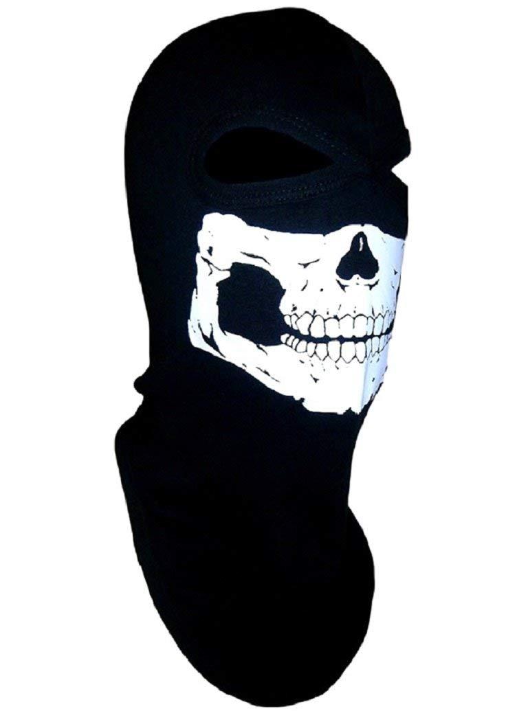 American Made Adult Ghost Skull Balaclava Ski Mask Ninja Swat Full Face Narrow Eyes Black Cotton Hood Head Sock Dust Wind Sun Exhaust Protection For Men / Women Motorcycle Rider Biker ATV Cosplay Airsoft