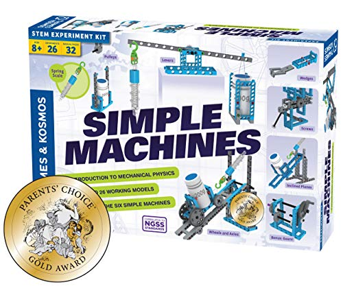 Thames & Kosmos Simple Machines Scientific Experiment & Modeling Kit, Introduction to Mechanical Physics, Create 26 models to study the 6 classic simple machines