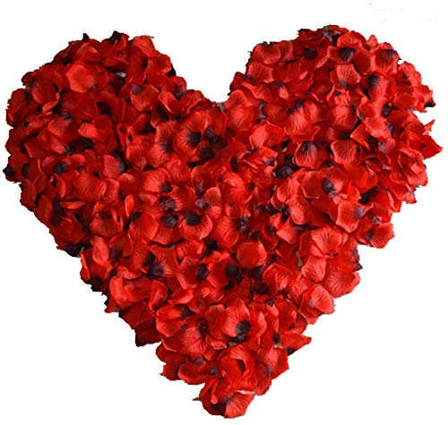 Miss Team 1000Pcs Red Silk Petals Decoration,Rose Petals for Wedding, Romantic Night Party,Birthday and Valentine's Day Present