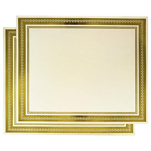 - 50 Award Certificates, Gold Foil Border Certificate Paper, for Diploma or Awards