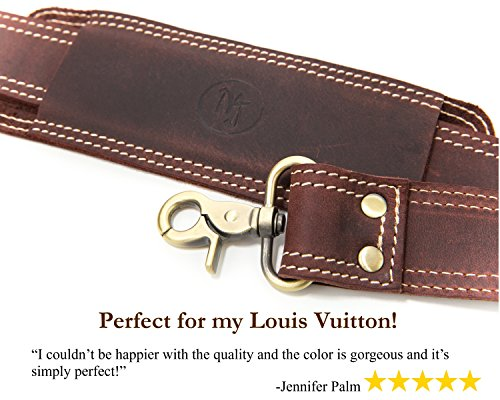 3d60adf5cb93 Messenger Bag Strap Replacement - Quality Genuine Cowhide Leather  Adjustable Shoulder Strap for Messenger