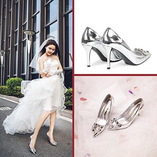 MUMA Sexy Chaussures Mariée Mariage Taille CN39 Talons Hauts 2018 Cristal Saison 6cm UK6 Couleur Pointu Chaussures EU39 6cm De De Escarpin rzP8wqnr