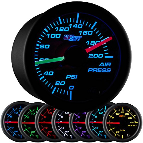 - GlowShift Black 7 Color 200 PSI Air Pressure Gauge Kit - Includes 2 Electronic Sensors - Red & Green Analog Needles - Black Dial - Clear Lens - for Air Ride Suspension Systems - 2-1/16