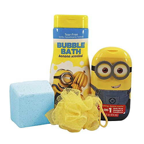 Boxed Fragrance - Despicable Me Childrens Bubble Bath Boxed Set Featuring Minions Bubble Bath, Hair and Bodywash, Body Pouf, and Bubblegum Mega Bomb Fizzing Giant Bath Bomb with Surprise Bath Squirter Toy Inside