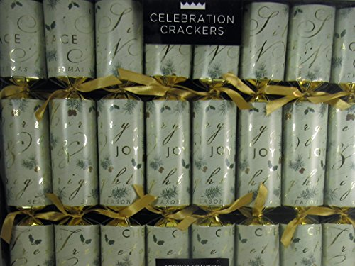 Celebration Crackers British Designs Set of 8 Holiday Themed Crackers Musical Gifts Inside (Musical Crackers Christmas)