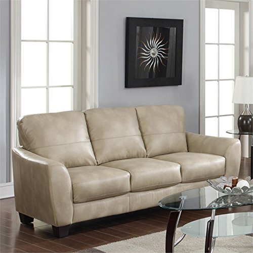 Amazon Com Chintaly Imports Club Bonded Leather Sofa Taupe
