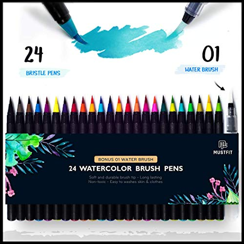 MUSTFIT Watercolor Brush Pens Set - 24 Colors Watercolor Pens Brushes and a Refillable Water Brush Paint Pen, Flexible Real Soft Brush Tips for Adults and Kids Coloring, Artist and ()