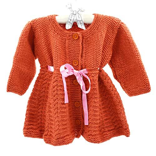 Magic Needles Handmade Knit Baby Infant Newborn Winter Woolen Full Sleeves Sleeveless Sweater Pullover Cardigan (Orange 453, 0-12 mths) - Handmade Baby Sweater