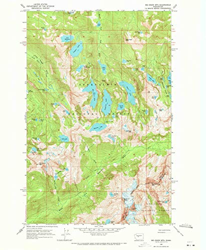 YellowMaps Big Snow MTN WA topo map, 1:24000 Scale, 7.5 X 7.5 Minute, Historical, 1965, Updated 1971, 26.8 x 22 in - Paper ()
