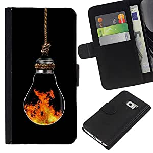 All Phone Most Case / Oferta Especial Cáscara Funda de cuero Monedero Cubierta de proteccion Caso / Wallet Case for Samsung Galaxy S6 EDGE // Light Bulb Art Modern Fire Symbolic Element