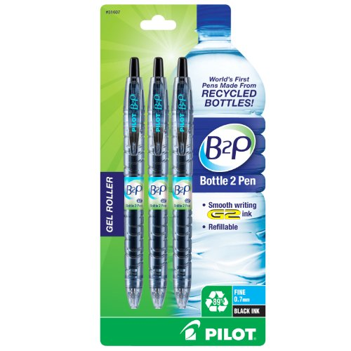 Pilot Bottle-2-Pen (B2P) Retractable Premium Gel Roller Pens Made from Recycled Bottles (3 Count) Fine Point, Black G2 Gel Ink, Refillable, Comfortable Grip (31607) ()