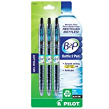 Pilot B2P, Bottle to Pen, Retractable Gel Roller Pens Made from Recycled Bottles, 3 Pen Pack, Fine Point, Black -31607