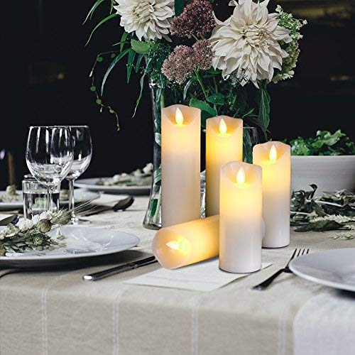 Flameless LED Candles Flickering pillar Candles Battery Operated Candles Unscented with Timer and Remote Set 5 6 7 8 9 Set of 5 Ivory Real Wax Pillar LED Candles with 10-key silicone Remote
