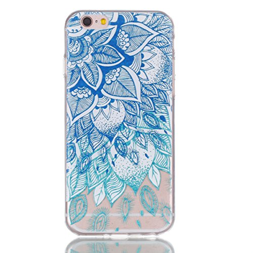 Coque Etui iPhone 6 / 6S Plus, Leiai Arbre Bleu Soulagement Silicone Gel Case Avant et Arrière Intégral Full Protection Cover Transparent TPU Housse Anti-rayures pour Apple iPhone 6 / 6S Plus