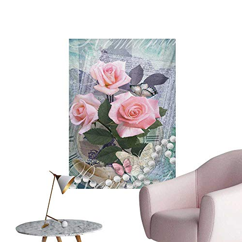 (Anzhutwelve Pearls Photographic Wallpaper Classic Rose and Pearls Romantic Dramatic Love Symbols Together Grace Bouquet ArtworkPink Grey W32 xL36 Funny Poster)