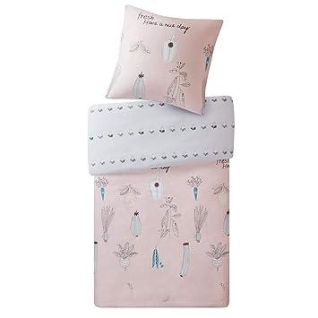 Scm Bettwäsche 135x200cm Rosa Grau 100 Baumwolle 2 Teilig Bettbezug