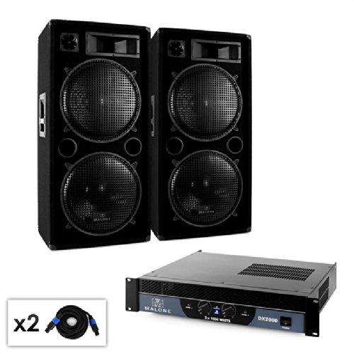 Malone Bass altavoces /& cableado 2000 W Set PA 2.0 Amplificador