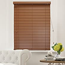 "Chicology Faux Wood Blinds / window horizontal 2-inch venetian slat, Faux Wood, Variable Light Control - Simply Brown, 29""W X 64""H"