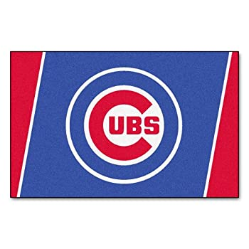 Image of Area Rugs FANMATS 7051 MLB Chicago Cubs Nylon Face Plush Rug,Team Color,46'x72'