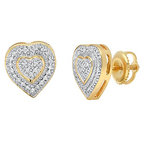 Dazzlingrock Collection 0.16 Carat (ctw) 14K Round White Diamond Ladies Micro Pave Heart Shape Stud Earrings, Yellow Gold