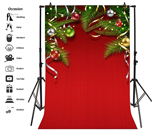 Leyiyi 8x10ft Photography Backdrop Merry Christmas Party Background Reindeer Pine Branches Ribbon Gifts Balls Snowflakes Ribbon Happy New Year Birthday Photo Portrait Vinyl Video Studio Prop