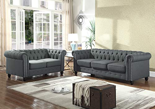 (Best Master Furniture YS001 Venice 2 Piece Upholstered Sofa Set, Charcoal)