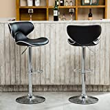 At Home Bar Stools Roundhill Furniture Masaccio Cushioned Leatherette Upholstery Airlift Adjustable Swivel Barstool with Chrome Base, Set of 2, Black