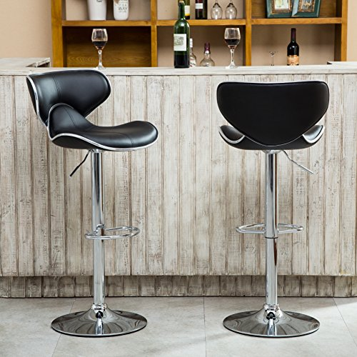 (Roundhill Furniture Masaccio Cushioned Leatherette Upholstery Airlift Adjustable Swivel Barstool with Chrome Base, Set of 2, Black)