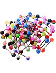BodyJ4You® Tongue Ring Assorted Lot of 20 Surgical Steel Piercing Barbells 14 Gauge No Duplicates (20 Pieces)