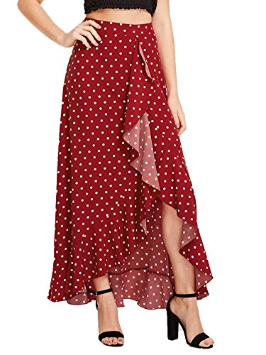 Milumia Women's Bohemian Floral Print Wrap Skirt Long Maxi Skirt Red-1 X-Small