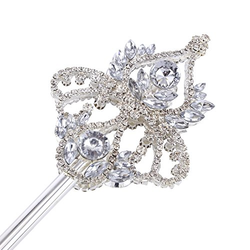 FUMUD Silver Rhinestone Magic Wand Pageant Birthday Party Wedding Magic Fairy King Costumes Props (FMWGMF0003) by FUMUD