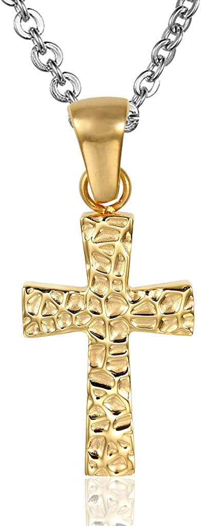 MoAndy Pendant Necklace with Stainless Steel Chain Stainless Steel Necklace for His Her Pendant Necklace Cross