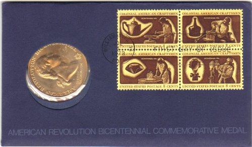 1972 American Bicentennial Commemorative Medal & Stamps First Day Cover - George Washington -