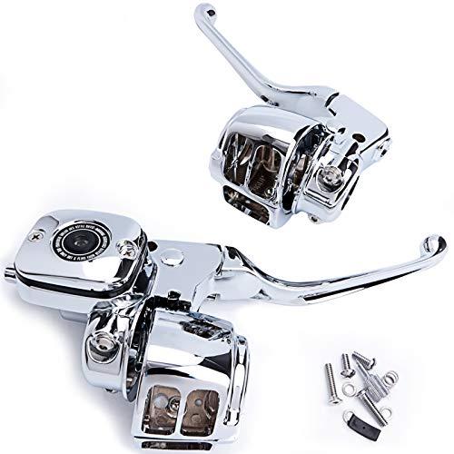 Handlebar Hand Control Kit 9/16 Inch Bore Master Cylinder for 96-06 Harley-Davidson Softail FXSTSB 22-0820 (Chrome)