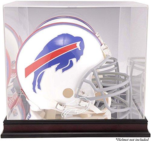 Football Case Buffalo Display (Buffalo Bills Mahogany Helmet Logo Display Case and Mirror Bottom and Back)