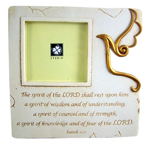 Boy First Communion Cut Out - Confirmation Resin Tabletop Picture Frame with Holy Spirit Cut Out, 7 1/8 Inch
