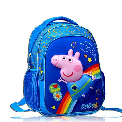 (YOURNELO Kid's Cute Cartoon Peppa Pig Rucksack School Backpack Bookbag for Boys Girls (George Sapphire,)