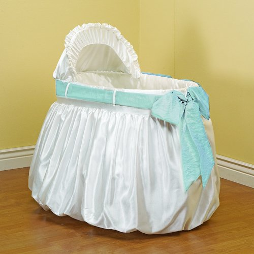Baby Doll Bedding Shantung Bubble and Crushed Belt Bassinet Bedding, Blue