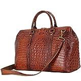 Genuine Leather Berchirly Large Messenger Bag Travel Duffel For Men Brown