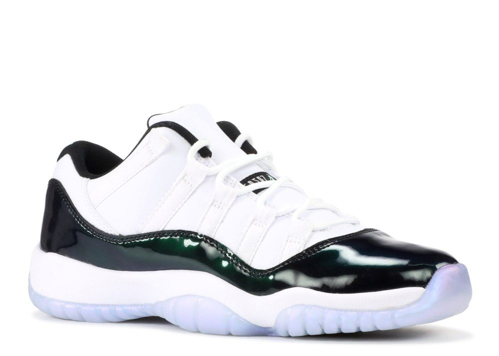 best service 85b14 a9658 Jordan Retro 11 Low Easter White/Black-Emerald Rise (Big Kid) (Youth Size  5.5)