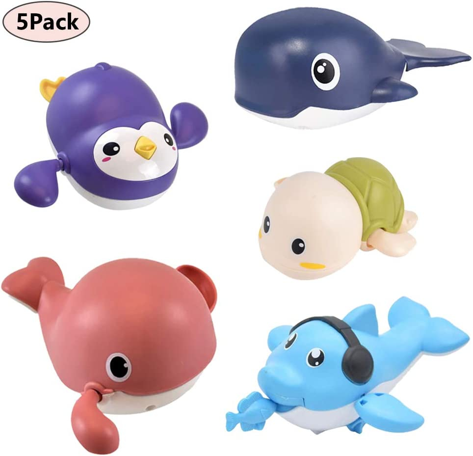 WenToyce 5 Pack Wind Up Swimming Bathtub Animals, Turtle Whale Shark Dolphin Penguin Pool Float Bath Watering Toys for Boys Girls Baby Toddler