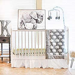 Pam Grace Creations 6 Piece Crib Bedding Set, Grey/Indie Elephant, Standard Crib Boy or girl - unisex