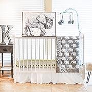 Pam Grace Creations 6 Piece Crib Bedding Set, Grey/Indie Elephant, Standard Crib