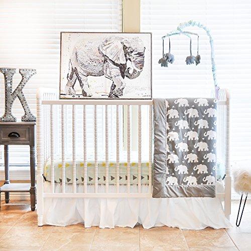 Pam Grace Creations 6 Piece Crib Bedding Set, Grey/Indie Elephant, Standard Crib Custom Crib Bedding Set